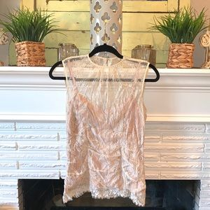 Nanette Lapore Cream Sheer Lace Blouse